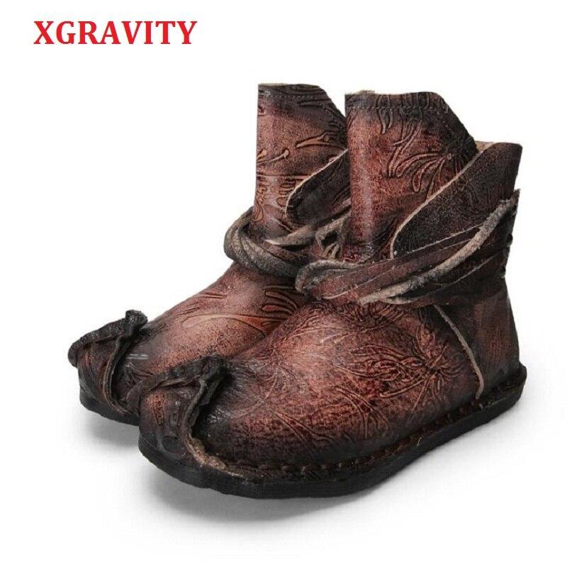 XGRAVITY 2 Colors Cow Genuine Leather Women Ankle Short Boots Designer Flower Unique Woman Fashion Boots Lady Tassel Shoes A030