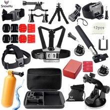 Gopro accessories set kit mount Helmet Harness Chest for go pro hero 4 3+ 2 sj4000 sj5000 camera case xiaoyi Black Edition GS26 цена