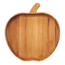 Apple Stlye Wooden Dinner Plate Party Serving Tray Acacia Wood Dish Creative Tableware Wooden Tray for Snacks Fruit Handmade