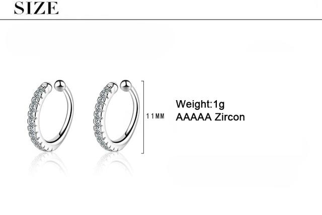 ModaOne Simple Earcuff Tasteful Zircon Clip On Earrings For Women 925 Sterling Silver Ear Cuff Jewelry.jpg 640x640 - ModaOne Simple Earcuff Tasteful Zircon Clip On Earrings For Women 925 Sterling Silver Ear Cuff Jewelry For Girl pendientes mujer