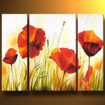 3 piece Hand Painted Poppy Flowers On Meadow Modern Canvas Art Wall Decor Floral Oil Painting Wall Pictures for living Rooms