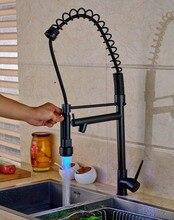 Масло Втирают Бронзовый Бортике Кухня Раковина Кран Одной Ручкой Поворотным Изливом LED Носик Смесителя