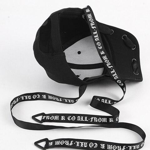 Men&Women Fashion Long Belt Ribbon Black Baseball Caps 2018 Fashion Summer New Hip Hop Cap With Ring Snapback Hat Unisex Punk Multan