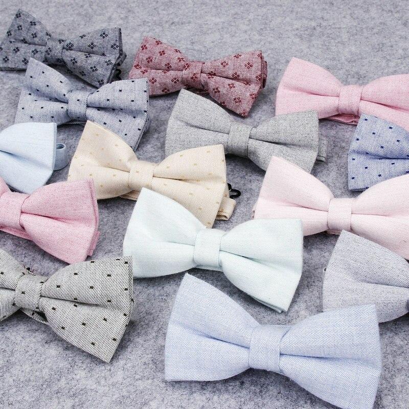 Brand New Mens Fashion Solid Bow Tie Cotton Butterfly Cravat For Men Wedding Dot Bowtie Tuxedo Bows Male Accessories Necktie