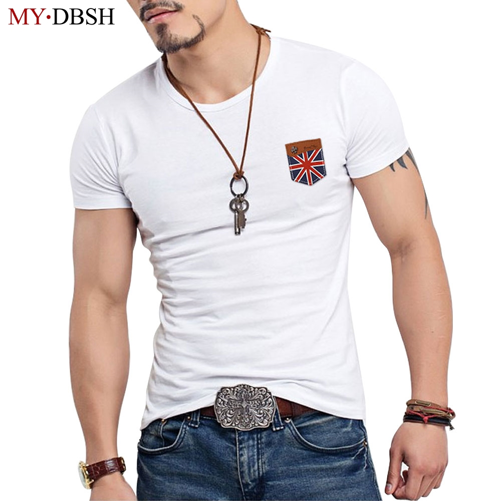 Design t shirt with pocket - Fashion False Pocket T Shirt Men Designer Clothes Cross Flag Leather Tshirts Casual Elastic Cotton T