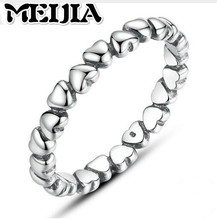 Authentic 925 100% Solid Sterling Silver Forever Love Heart Finger MEIJIA Ring Original Jewelry Valentine's Day Gift