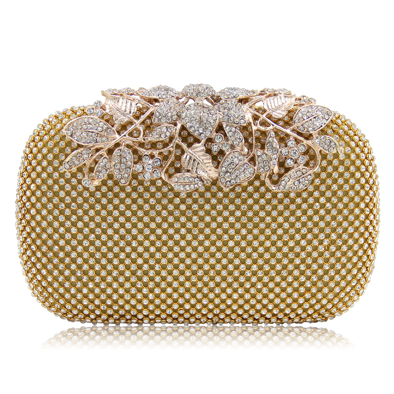Luxury Diamond Flower Evening Clutches Bags Women High-grade Full Rhinestones Mini Hand Bag Evening Clutch