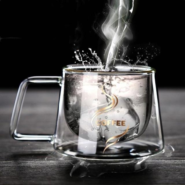 Heat Insulation Glass Coffee Mug, Double Wall Glass Coffee Tea Cups Drinkware Milk, 6.8oz/200ml Espresso Coffee Milk Latte Cup 5