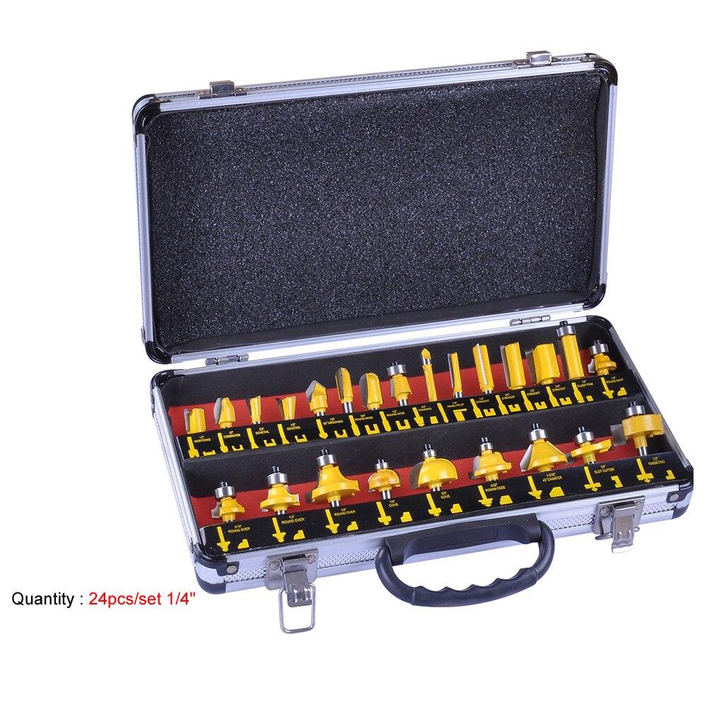 24 pçs/set 1/4 (6.35mm) shank Fresa Carboneto de Tungstênio Router Bit Set Madeira Carpintaria Cortador Corte Faca Máquina de Mão