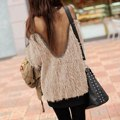 Top Fashion 2017 Hot Women Ladies Sheer Mesh Backless Patchwork Tops Long Sleeve See Through Pullover Sweaters Blusas Femininas