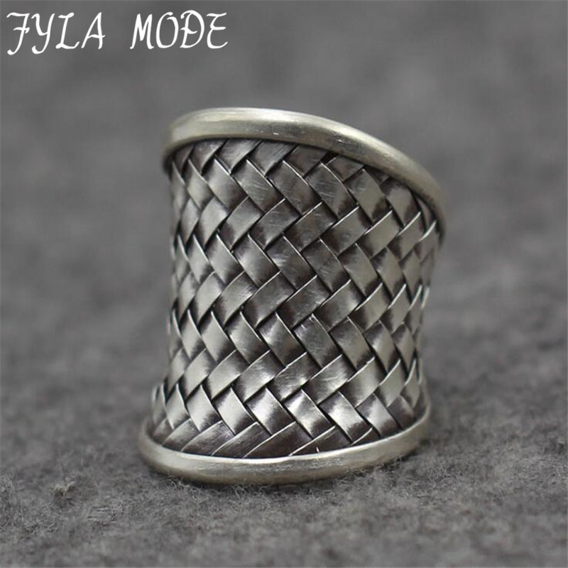 Black Thai Silver Handmade Weave Web Net Ring Authentic 100% 925 Sterling Silver Rings For Men Vintage Punk Style Men Jewelry