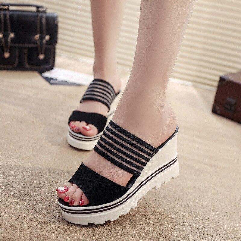 Women Summer Slippers Wedges Paltform Slides Female Black Height Increasing Sandals Woman Open Toes High Heel Shoes SH021804Slippers   -