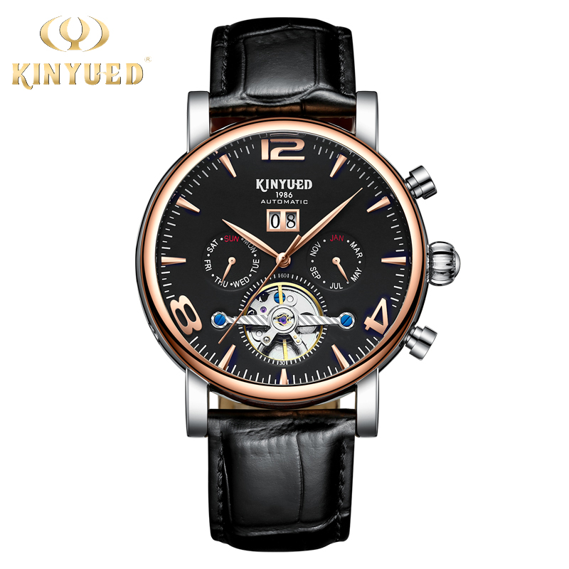 KINYUED Business Tourbillon Watch Automatic Top Brand Luxury Mens Skeleton Watches Mechanical Montre Squelette Homme Automatique tourbillon business mens watches top brand luxury shockproof waterproof skeleton watch men mechanical automatic wristwatch