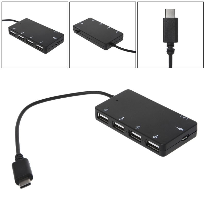 Free shipping 4 Port USB Hub Type C OTG Charging Adapter For smartphone Tablet