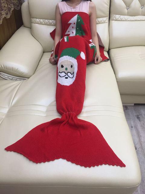 180X90 de impresión de Navidad de punto Caliente cola de sirena manta suave hecho a mano de ganchillo wrap chic niños adultos sofá de cama para dormir bolsa