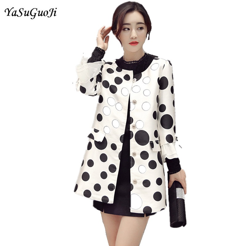 2019 spring new brief style fashion black and white polka dot color blocked single breasted   trench   coat women abrigos mujer FY10