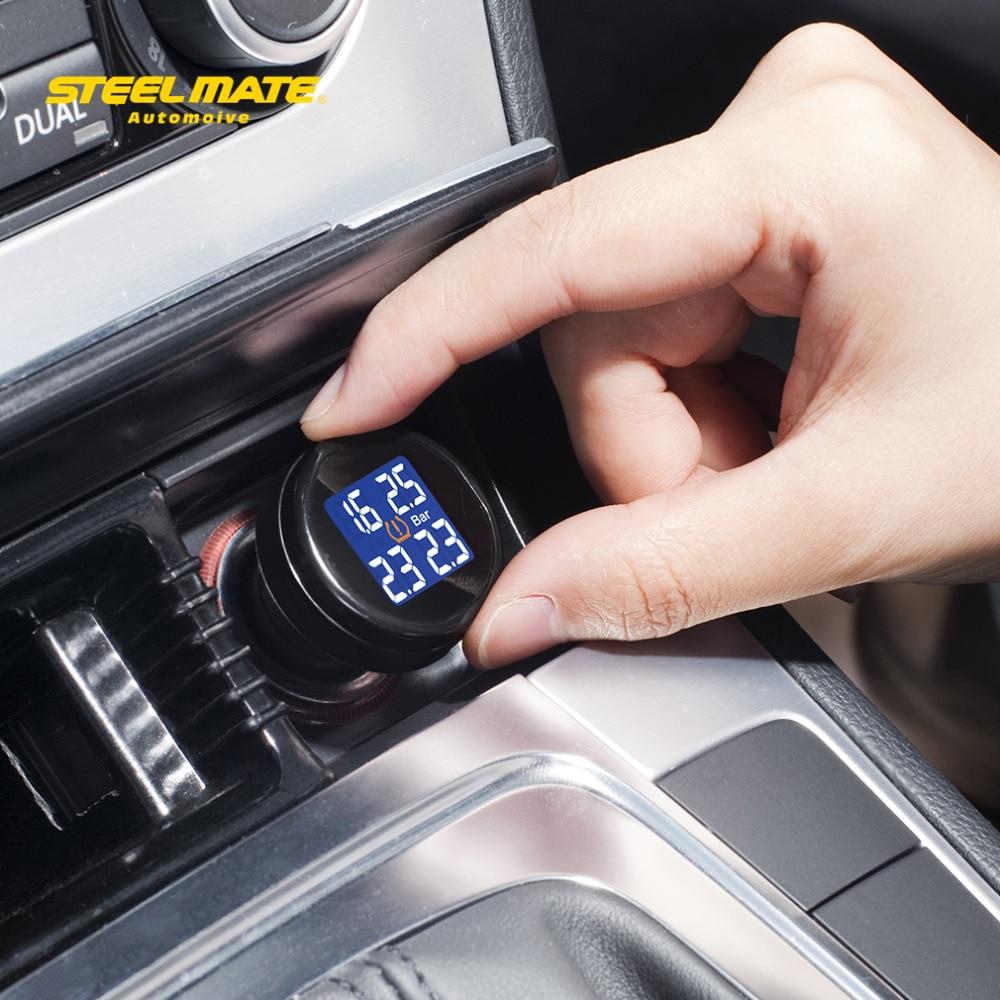 Steelmate 2017 горячая распродажа ТП-74Б DIY автомобиля tpms с 4 внешних датчиков контроля давления в шинах система сигнализации ЖК-дисплей сталь мате