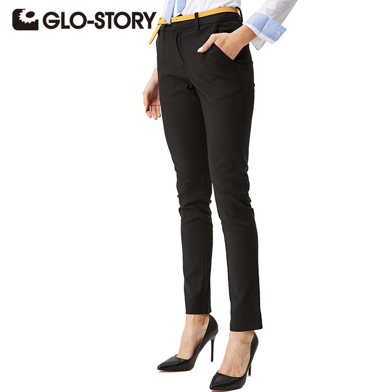 GLO-STORY 2018 Autumn Women office work Pants Excellent Quality Elegant Ladies Pencil Suit Pants Women Trousers With Belt 1182
