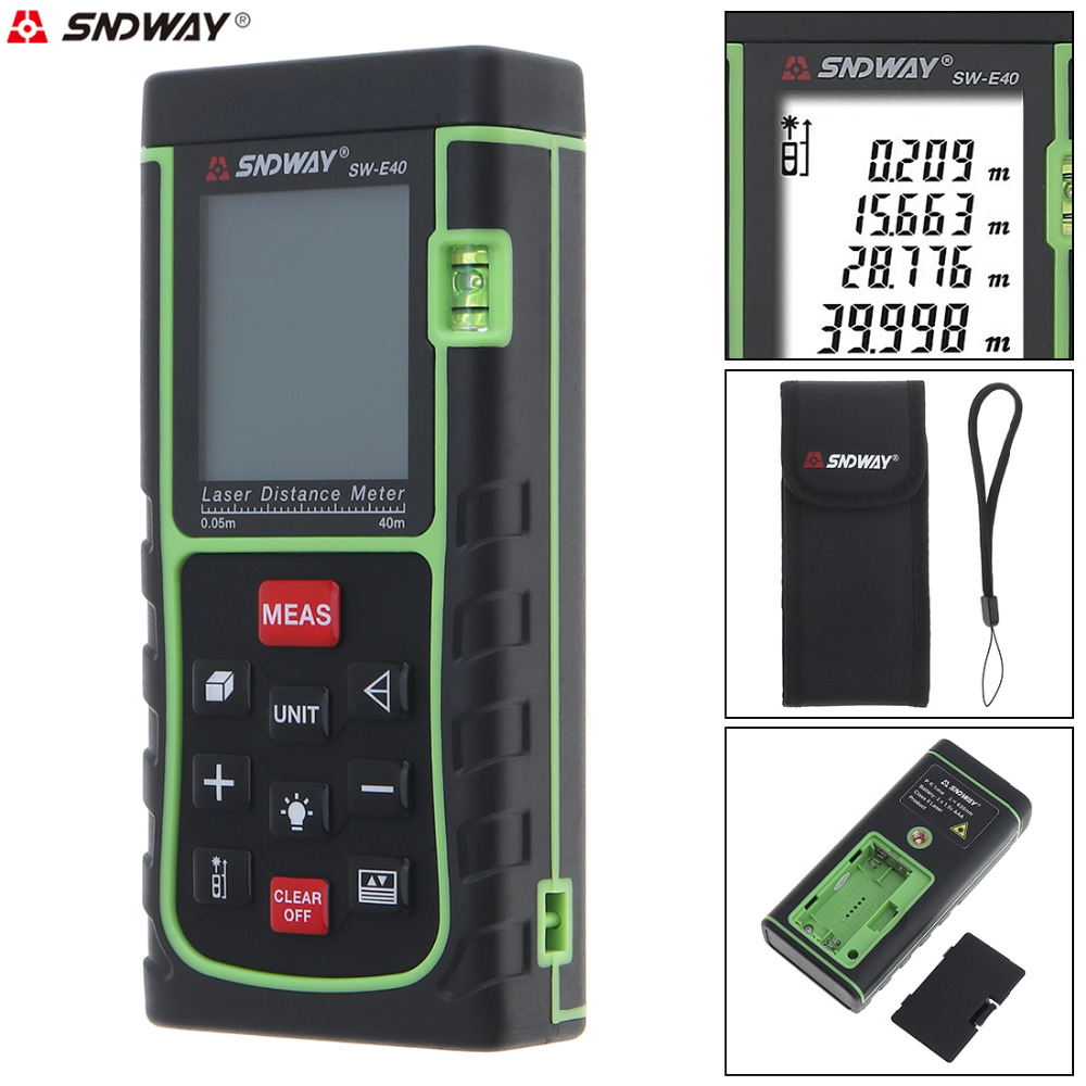 SW_E40 40M Support Single Distance and Continuous Measuring Laser Distance Meter with Level Instrument and Backlight high quality southern laser cast line instrument marking device 4lines ml313 the laser level