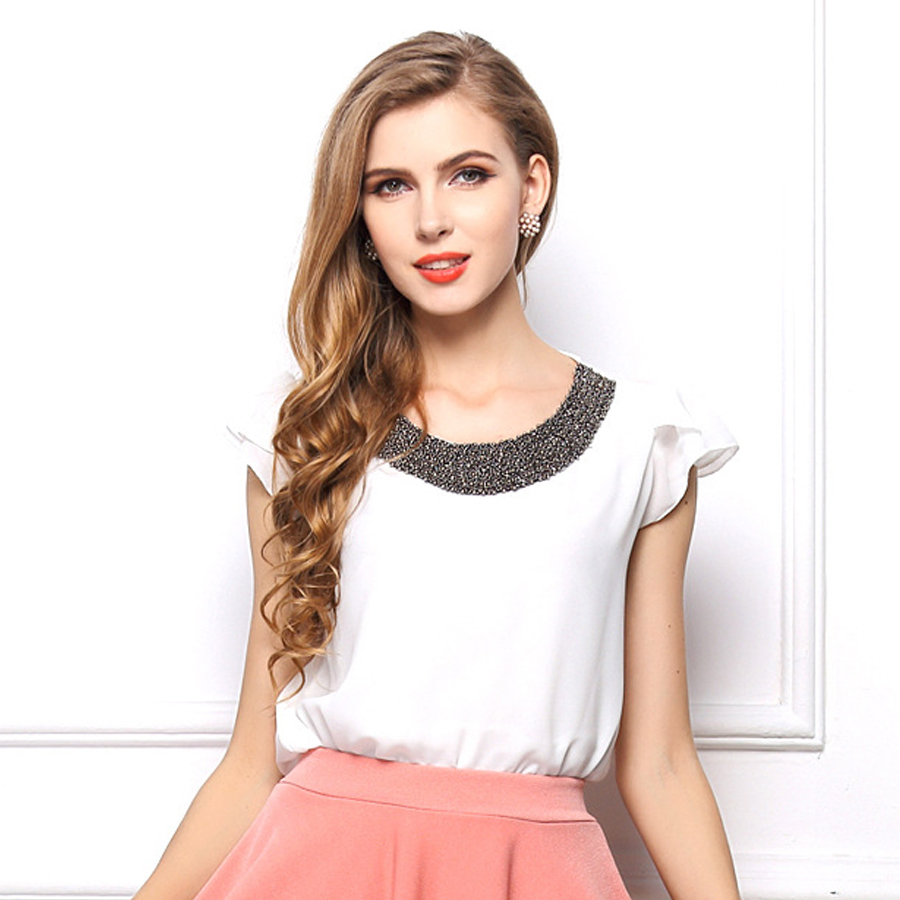 Womens summer short-sleeved large size chiffon new 2 kinds of pure color hand-stitched s ...
