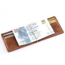 MS Neue Echtes Leder Crazy Horse Vintage Herren Geldscheinklammer Schlanke Bifold Brieftaschen mit Metall Clip + 6 ID Kreditkartensteckplätze JJ50