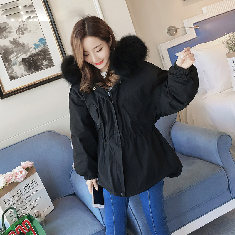 2017 Winter New Large Size Cotton Jacket Coats For Women Thick Cotton Overcoats With Big Fur Collar Outerwear