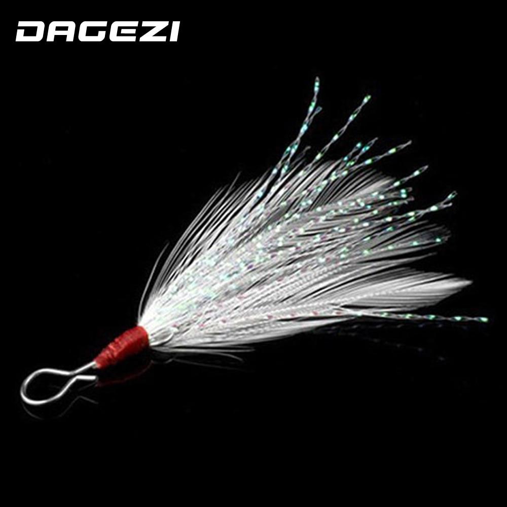 DAGEZI 10 pcs/lot carp fishing accessories pendant bloodstreams feather fishing lure fishing equipment fishing tackle box