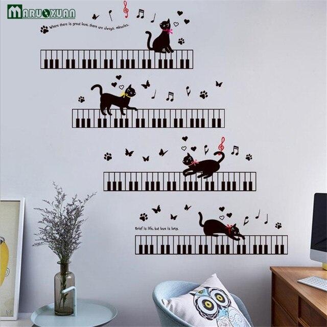US $5.89 |Maruoxuan Pianoforte Musica Cat Farfalla Sticker Camera Da Letto  Corridoio Soggiorno Sfondo Decorativo Autoadesivo Della Parete del PVC Wall  ...