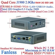 Fanless Mini PC Computer with Intel Celeron Quad Core J1900 hd living room nano pc with 2G RAM 16G SSD