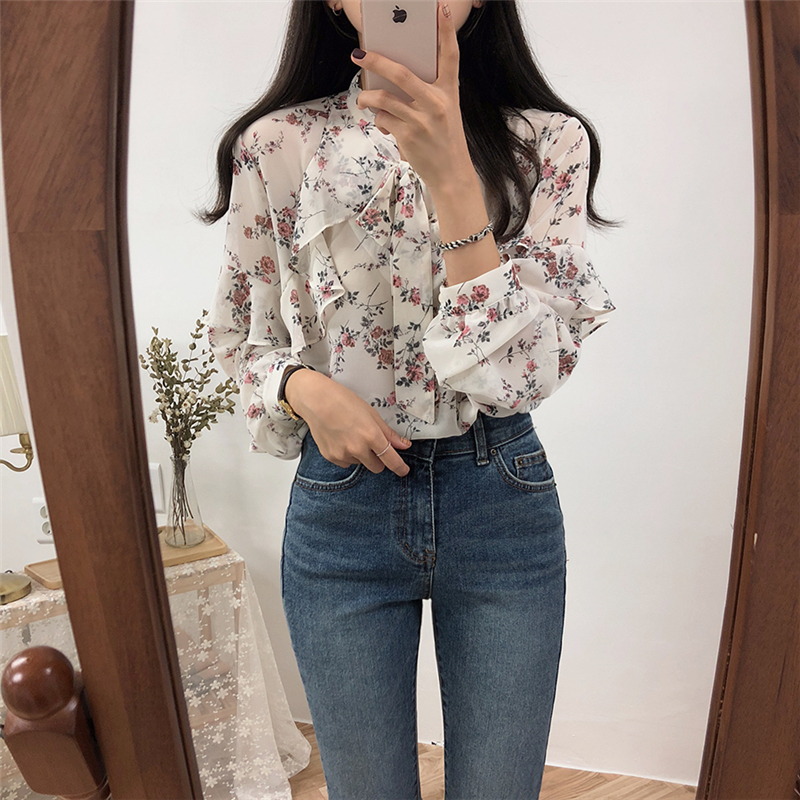 Elegant Bow-neck Ruffles Women Chiffon   Blouse     Shirts   Summer Floral Print Female   Shirts   Tops 2019 Casual   Blouses   femininas