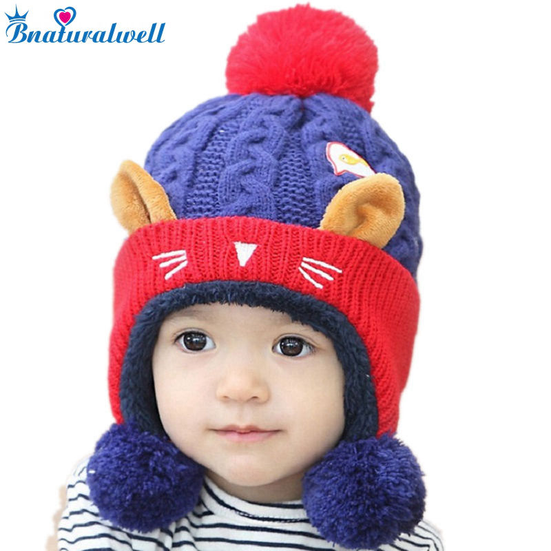 Bnaturalwell New Unisex Baby Boy Girl Lovely Beanie Hat Children Knitted Warm Hats Winter Ear cap Kids Knitting Head Caps H030 replacement vbn260 7 4v 2500mah battery pack for panasonic hdc sd800gk tm900 hs900 sd900