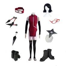 Brdwn Naruto Boruto Womens Uchiha Sarada Ninja Cosplay Costume (cheongsam+shorts+Headband+glasses+Shoes+Kunai+bag+shuriken)