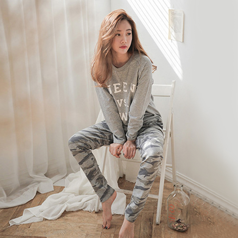 a3e8ba7c7d Spring Autumn Women Pyjamas Cartoon Printed Cute Pijama Pattern Pajamas Set  Thin Pijamas Mujer Sleepwear long Sleeve Nightgown