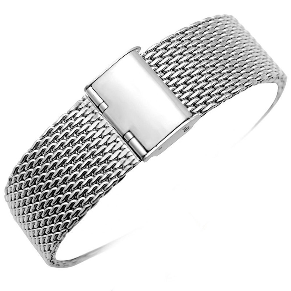 Luxury 20mm 22mm Solid Milanese Stainless Steel Mesh Band with Hook Buckle Classic Polished Silver Wristband