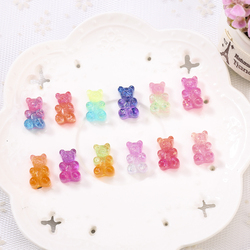 20pcs 10*17MM Glittering Sweet haribo Gummy bear Gradient color Flatback Resin Cabochons charms for headwear accessories