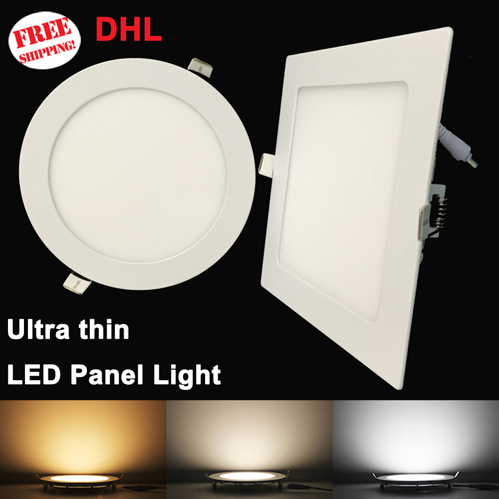 20pcs Panel LED ultrafino Downlight 3W 6W 9W 12W15W 18W Lámpara de techo LED redonda / cuadrada empotrada AC85-265V Bombilla de panel LED