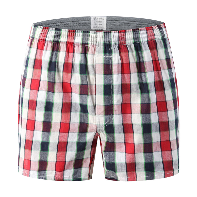 Oversize Mens Underwear Boxers Shorts Casual Cotton Red Underpants High Quality Brands Plaid Loose Comfortable Homewear Panties