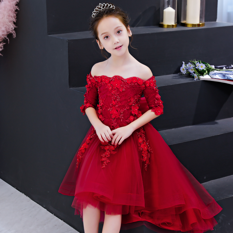 2018 Autumn Summer Elegant Wine-red Color Children Girls Princess Lace Dress For Birthday Wedding Party Kids Baby Tutu Dresses 2017 new high quality girls children white color princess dress kids baby birthday wedding party lace dress with bow knot design