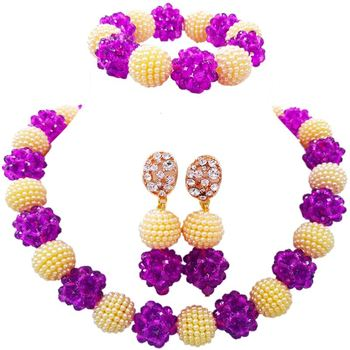 Elegant Purple Beige Wholesale Imitation Pearl Necklace Earrings and Bracelet Sets 1C-SJZZ-25