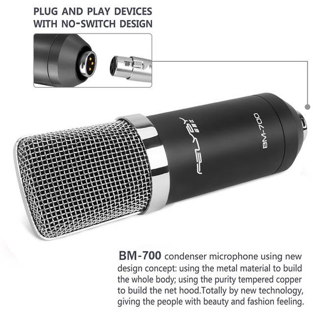 US $34 78 29% OFF|FELYBY audio kit bm 700 fashion condenser microphone for  computer karaoke microphones recording studio profession microphone-in
