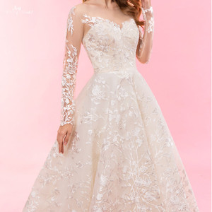 Image 5 - RSW1322 Real Pictures Yiaibridal Long Sleeve Wedding Dress Champagne Robe De Chambre