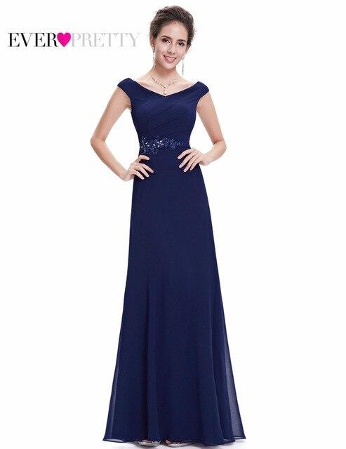 d85273bb94c7 Vestito da sera Mai Abbastanza Blu Navy EP08642NB Scollo A V Una Linea  Donna Elegante Senza Maniche