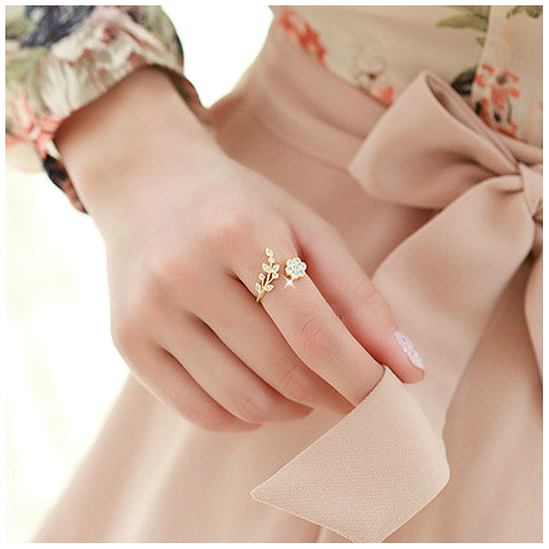 Temperament Rhinestones Twisted Leaves Wishful Flowers Open Ring Index Finger Ring Unisex Rings
