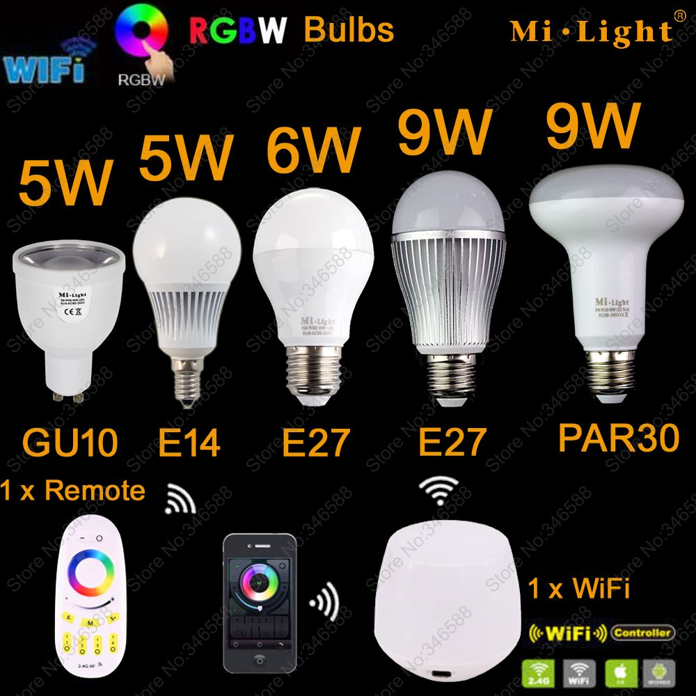 Mi Light LED Bulb AC85-265V GU10 5W E27 6W 9W RGB+CW RGB+WW LED Bulb Lamp WiFi Compatible 2.4G Wireless Remote Control new dc5v wifi ibox2 mi light wireless controller compatible with ios andriod system wireless app control for cw ww rgb bulb