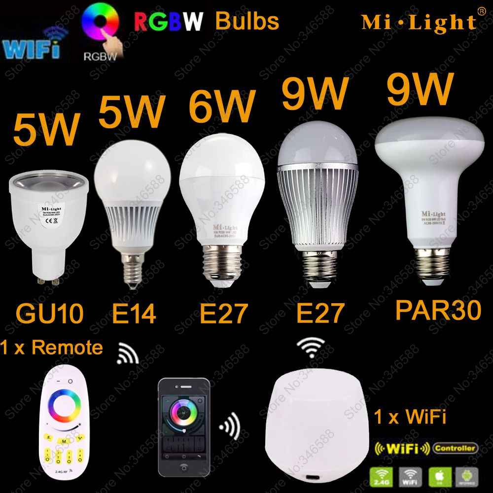 Led Gu10 5w Mi Light Led Bulb Ac85 265v Gu10 5w E27 6w 9w Rgb Cw Rgb Ww Led Bulb Lamp Wifi Compatible 2 4g Wireless Remote Control