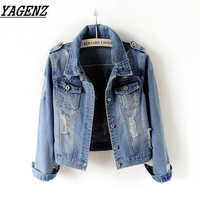Large size 5XL 6XL Women Denim Basic Jacket Short Outerwear Slim Vintage Jeans Jacket Single breasted Female Denim Casual Tops