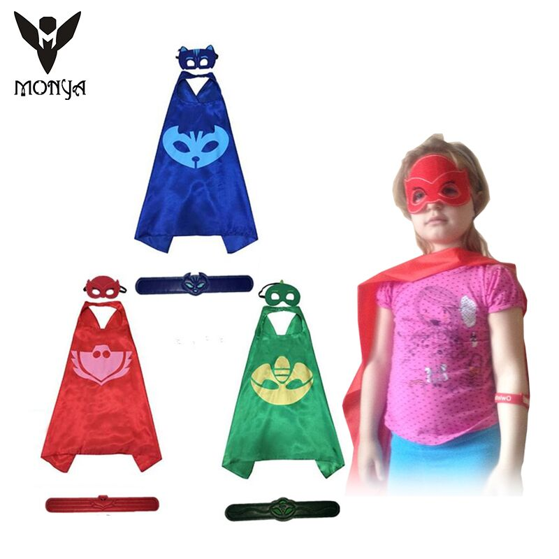 Catboy Owlette Gekko Cloaks Masks Halloween Pjmasks Kids Superhero Cape Masks Birthday Party Dress Up Costumes Masks