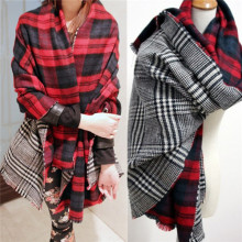 Free Shipping Pashmina Tartan Plaid Scarves Scottish Reversible Shawl Soft Acrylic Scarf Unisex Men Women Lady