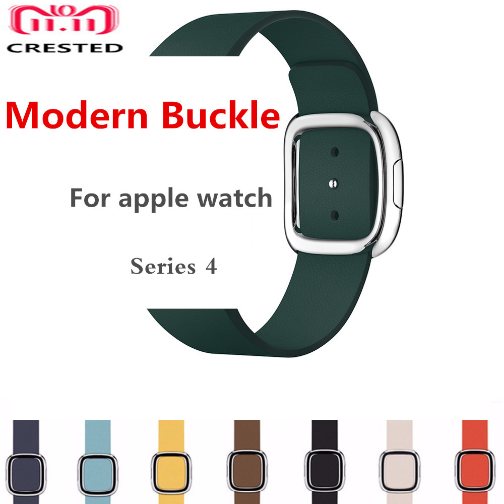все цены на CRESTED Leather Modern buckle for apple watch band series 4 44mm/40mm strap iwatch 3/2/1 42mm/38mm wrist bracelet belt correa онлайн