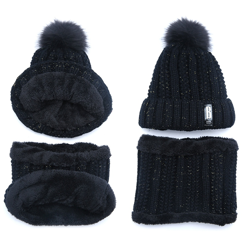 Letters Knitted Hat Women Brand High Quality Winter Women Ball Ski Hat PomPoms Hats Knitted Hat
